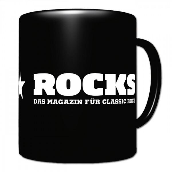 ROCKS Tasse schwarz mit ROCKS Logo Aufdruck weiß