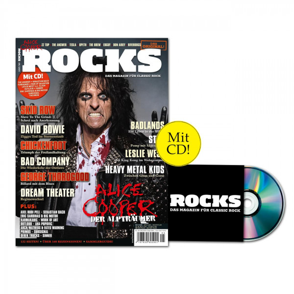 Das alles gibt's in ROCKS Nr 24 (05/2011) mit CD: Alice Cooper, David Bowie, ZZ Top, Skid Row, The Answer, Bad Company, Heavy Metal Kids, George Thorogood, Badlands, Work Of Art, Eric Sardinas, Arch/Matheos und Fates Warning, The Brew, Riverdogs, Styx, Ch